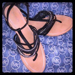 Aldo leather black sandals w/ankle strap